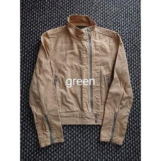 ハイク(HYKE)のgreen/HYKE キャンバス素材 ライダースジャケット グリーン ハイク(ライダースジャケット)