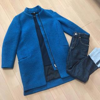 ザラ(ZARA)の美品 ZARA ノーカラーコート ブルー ハイネック コート コクーンコート(ノーカラージャケット)