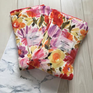 フランフラン(Francfranc)の新品 フランフラン クイックドライ バスタオル 花柄 フラワー 2枚セット(タオル/バス用品)