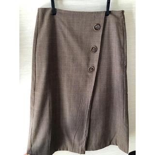ジーユー(GU)のGU   ジーユー スカート ベージュチェック 台形 XL(ひざ丈スカート)