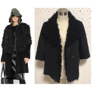 マルニ(Marni)の本物 マルニ シープファー付 デザイン ジャケット コート 40 グレー系(毛皮/ファーコート)