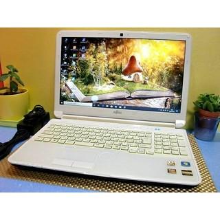 トウシバ(東芝)の返品保証!ブルーレイ搭載!最新オフィス搭載!綺麗なホワイトの富士通 AH53/H(ノートPC)