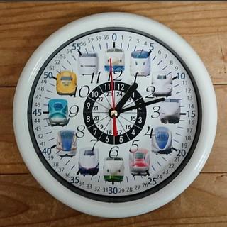 18cm 新幹線 24時間表記入り 白枠 掛け時計