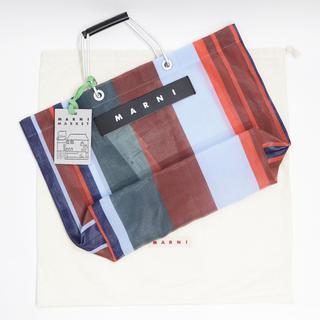 Marni - 新品 紙袋付き マルニ フラワーカフェ トートバッグ ストライプ 新色 レッド