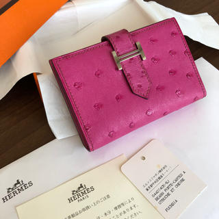 Hermes - エルメス♡ベアン カードケース フューシャピンク シルバー金具 オーストリッチ