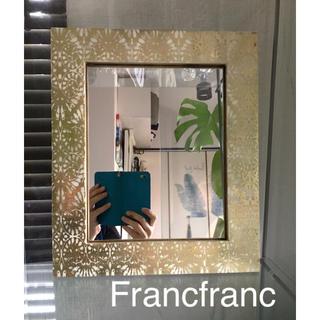 フランフラン(Francfranc)の縁起が良いゴールドミラー Francfranc❣️新品❣️送料込み❣️(壁掛けミラー)