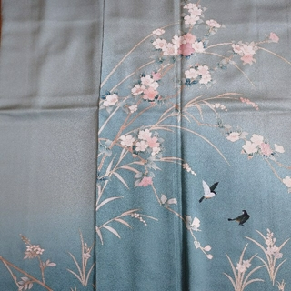 訪問着 正絹 桜に鳥
