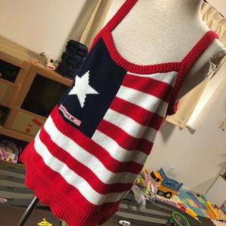 ロデオクラウンズ(RODEO CROWNS)のロデオRODEOアメリカン星条旗赤ニットキャミ綿F(キャミソール)