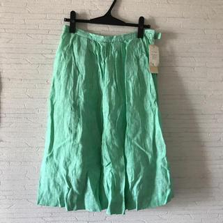 リネン ギャザースカート(ひざ丈スカート)