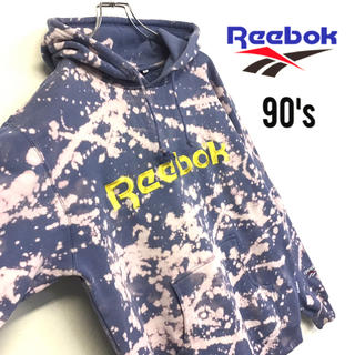 Reebok - 美品◇90's◇Reebok◇ブリーチ加工◇スウェットパーカー◇リメイク 古着