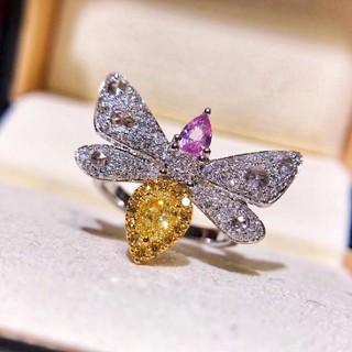 可愛い Beesファンシーライトイエローダイヤモンド×ピンクサファイアリング(リング(指輪))