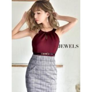 ジュエルズ(JEWELS)のJewels♡ キャミ風ノースリーブ/スカート部チェック柄キャバドレス(ナイトドレス)