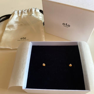 ete - ete ピアス 品質証明書付(0.1ctダイヤ、素材K18 YG)