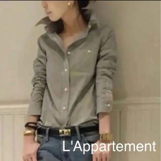 L'Appartement DEUXIEME CLASSE - アパルトモン ストライプ ワイヤー襟 シャツ