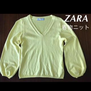 ZARA - 超美品 ザラ お洒落な春物 コットンニット バルーン袖 Vネック