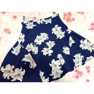 トランテアンソンドゥモード(31 Sons de mode)のトランテアン 花柄ミニスカート (紺)(ミニスカート)