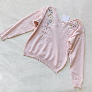 WILLSELECTION - 未使用タグ付 ピンク 刺繍ニット ウィルセレクション