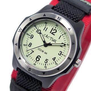 [カクタス] 腕時計 蓄光ダイヤル 10気圧防水 正規輸入品 レッド