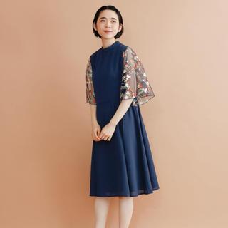 merlot - merlot plus 花刺繍レース袖ワンピース
