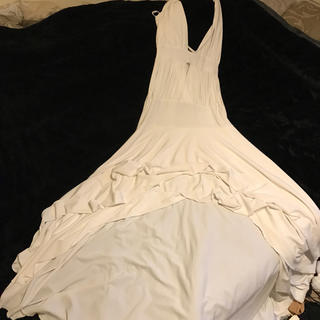 ホルターロングドレス ホワイト セクシー