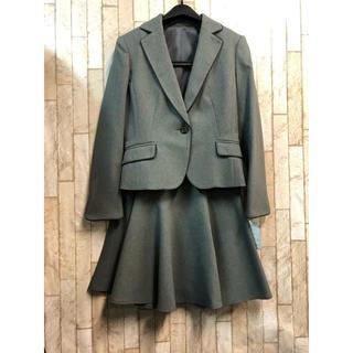 新品☆5号プチ♪ グレー無地系のスカートスーツセット♪洗える☆s852(スーツ)