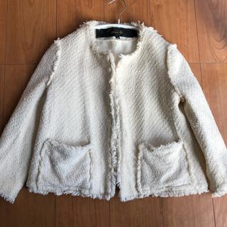 Drawer - Drawer ツイード ノーカラー ジャケット コート