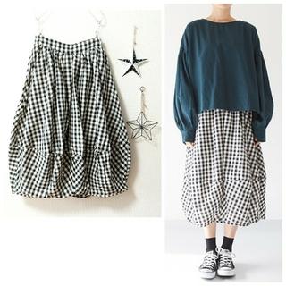 merlot - ✿Fillil✿black✿ギンガムチェック柄バルーンスカート