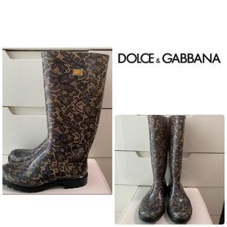 DOLCE&GABBANA - 美品 ドルチェ&ガッバーナ ブラックレース  エナメル レインブーツ
