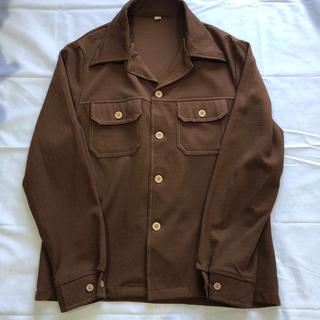 70s ポリシャツジャケット ブラウン