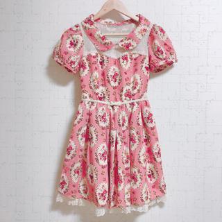 LIZLISA ピンク花柄ワンピース 春服 夏服 ミニスカート Aライン