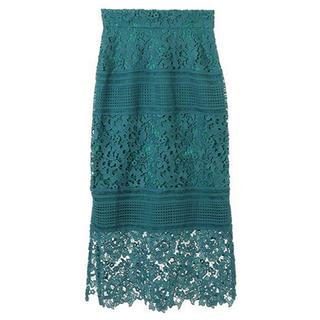 トランテアンソンドゥモード(31 Sons de mode)の美品 完売 トランテアン ケミカルレース切替ロングタイトスカート(ロングスカート)