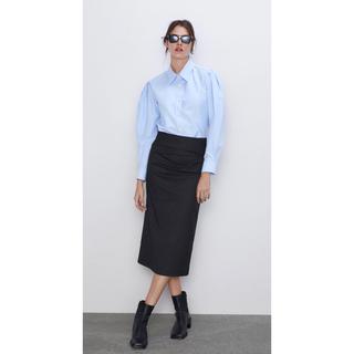 ザラ(ZARA)のZARA ザラ シャーリング グレータイトスカート 新品未使用 美品 完売(ひざ丈スカート)