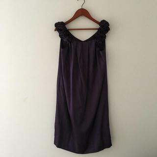 トゥモローランド(TOMORROWLAND)のballsey ボールジー  シルク ワンピース パープル 紫 36 美品(ミディアムドレス)