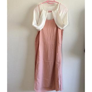 w closet - 期間限定!桜色バックリボン付きゆったりワンピースホワイトトップスセット