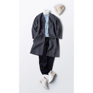 MUJI (無印良品) - 新品 無印良品 ウール混ダブルフェイスコート L ダークグレー ノーカラーコート