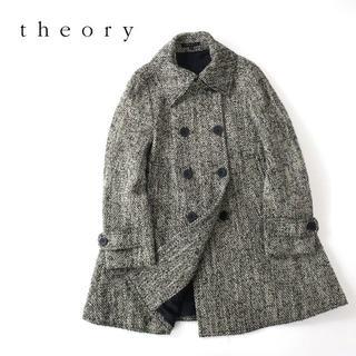 theory - theory セオリー モノトーンウールツイード◎Aラインコート