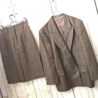 NEWYORKER - New Yorker セットアップ チェック柄 ニットスカート ジャケット