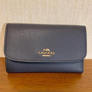 COACH - 新品・正規品♡coach マットレザー 折り財布 ネイビー