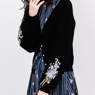 axes femme - ☆今期新品タグ付axes femmeアクシーズブーケ刺繍×チュール袖カーデ☆黒