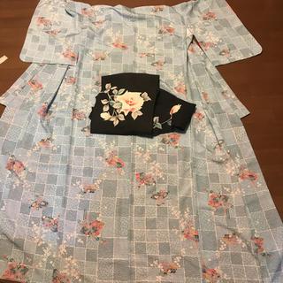 未使用 洗える着物と名古屋帯のセット 美しい花柄