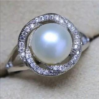 【新品】②AAAA本真珠9mmパールジルコニアリングホワイト14号~16号(リング(指輪))