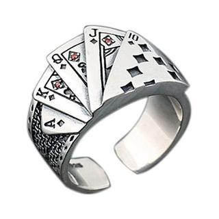 ポーカー トランプ ダイヤ カード ギャンブル 指輪 リング フリーサイズ