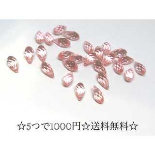 【527】雫ビーズ*ガラスビーズ*ティアドロップ*ピンク*6個