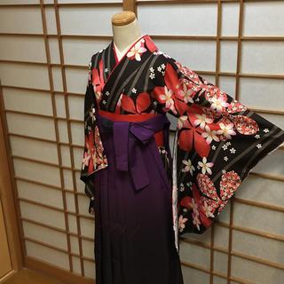 卒業式  袴セット  かわいい花柄の二尺袖 4点セット(着物)