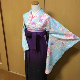卒業式 袴セット✨かわいい花柄の二尺袖 他4点セット❣️②(着物)