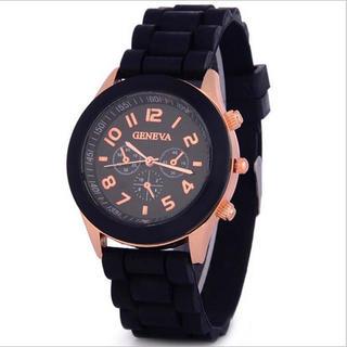 おしゃれビビットカラーシリコン腕時計 ♡ブラック♡
