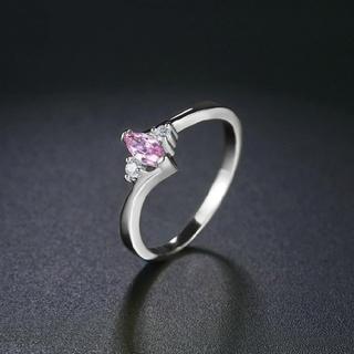 14号 ピンクキュービックジルコニア  ホワイトゴールドプレート  指輪   (リング(指輪))