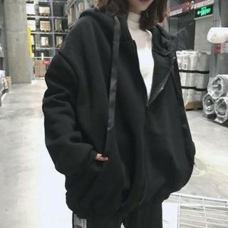 【XL/ブラック】ビッグシルエット ジップパーカーフード付き(パーカー)