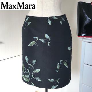 マックスマーラ(Max Mara)の美品 マックスマーラ スタジオ バタフライジャガード スカート 黒(ミニスカート)