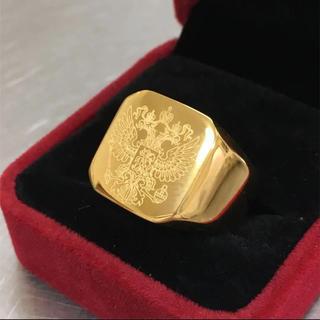 イーグル刻印 ゴールド印台カレッジリング スクエアリング ダブルヘッドイーグル(リング(指輪))